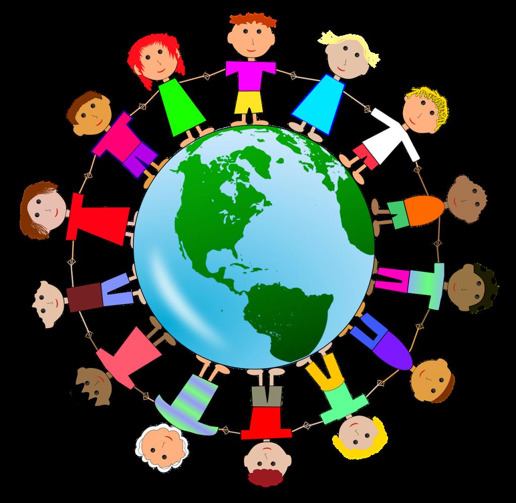 children, human chain, harmony